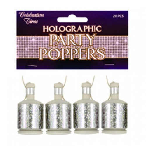 Party Party Poppers Silver Holo Pack of 20