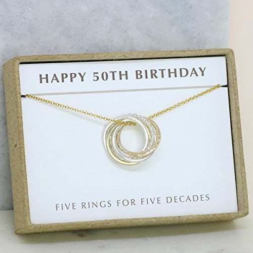 50th Birthday Gift Jewelry For Sister Wife Friend 5 Decades Necklace