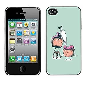 LECELL -- Funda protectora / Cubierta / Piel For Apple iPhone 4 / 4S -- Funny Cupcakes --
