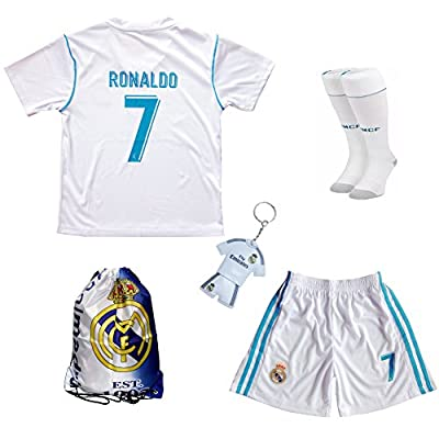 2017/2018 Real Madrid Cristiano Ronaldo #7 Home Football Soccer Kids Jersey & Short & Sock & Soccer Bag Youth Sizes