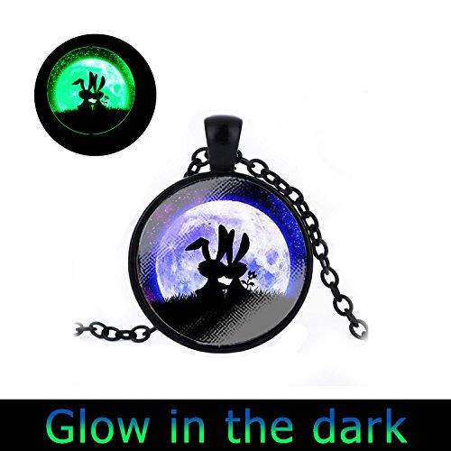 Glowlala@glow in the Dark Rabbit and Moon Hare and Full Moon Glowing Moon Hare in the Grass Animal and Full Moon Glow Necklace Space (necklace4) ()