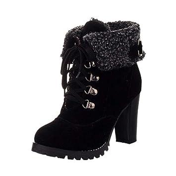 Qiusa Botas de Peluche de Invierno Mujer Calzado con Cordones Botines de tacón Alto Zapatos (Color : Negro, tamaño : 4.5 UK): Amazon.es: Hogar
