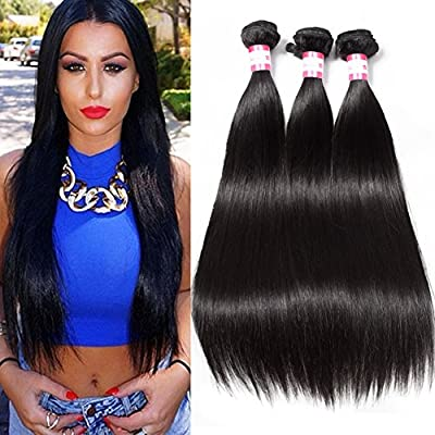 CYNOSURE Straight Brazilian Hair 3 Bundles Grade 8a Unprocessed Straight Human Hair Extensions Natural Black