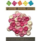 100 Pink Mulberry Daisy Flowers Scrapbooking Embellishment by mulberry daisy