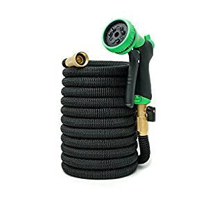 100ft Expandable Garden Hose - NEW 2018 Heavy Duty Expandable Hose - Triple Latex Core, 3/4 Brass Connectors, Extra Strength Fabric, Expanding Garden Hose with 9 Function Spray Nozzle - 1 Yr Warranty