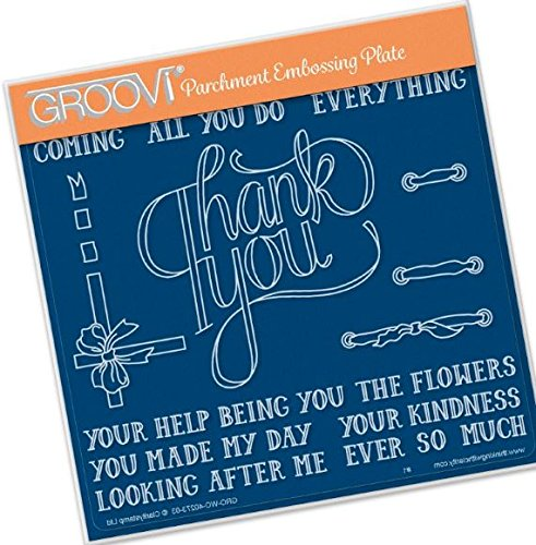 - Groovi Parchment Embossing Plate - Thank You Ribbon A5 - Laser Etched Acrylic for Parchment Craft