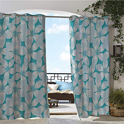 Linhomedecor Patio Waterproof Curtain Turquoise Macro Tropical Hibiscus Flowers Pattern in Gradient Colors Hawaiian Exotic Print Blue White Porch Grommets Adjustable Curtains 120 by 84 inch ()