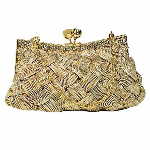 Gold Woven Braid Clutch W/Rhinestone Trim, Bags Central