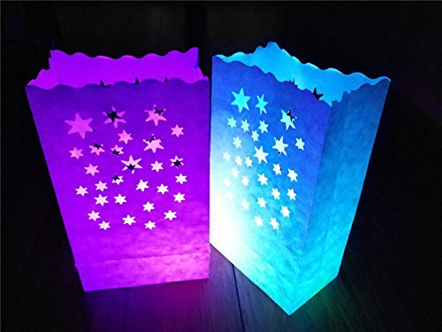 24 Pack Luminary Bags - Stars Design Candle Bags - Flame Resistant Light Holder - Decorations for Wedding, Halloween, Birthday, New Year, Party, Dinner and Event Occasion - White (Fire Resistant Halloween Decorations)