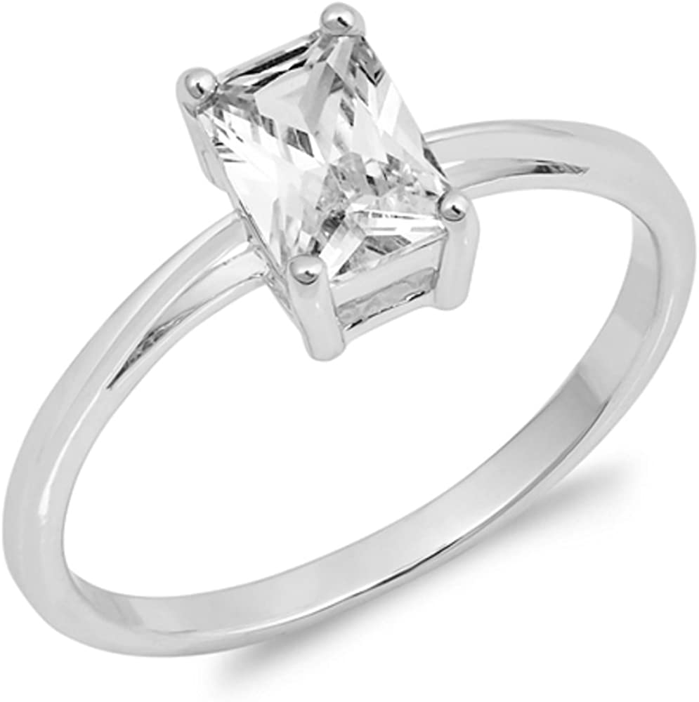 CloseoutWarehouse Princess Cut Clear Cubic Zirconia Center Solitaire Ring Sterling Silver