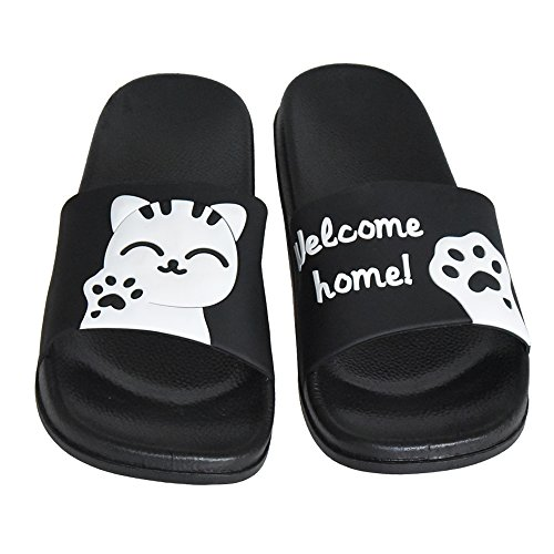 Slide Sandals on Outdoor Cute Slippers Indoor Womens Slip Cat Athletic SITAILE Sport Black Lucky Slides 54qCBwp