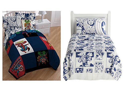 Marvel Heroes Comforter, Sheets and Pillow Case Set - Kids