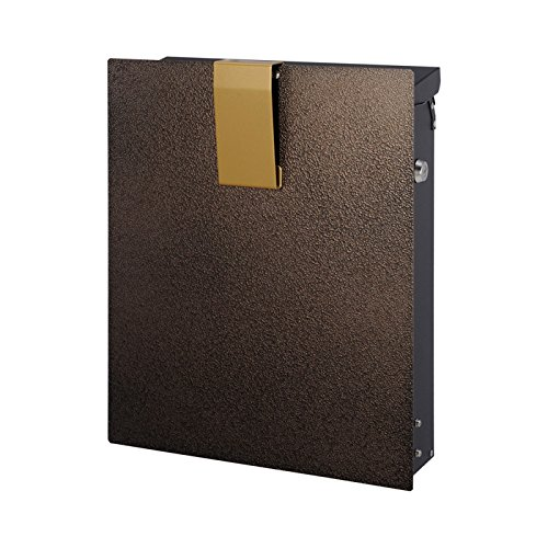 ポスト 郵便受け 郵便ポスト 大型配達物対応 ノイエファイン ハンマートーン ブロンズ&ゴールド 鍵付き B077Z3H3R6