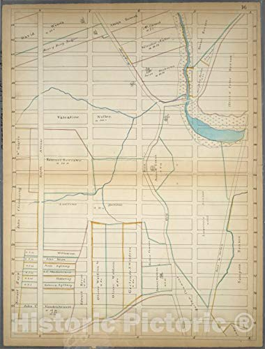 Historic Map | 1868 Page 16: [Bounded by W. 114th Street, Fourth (Park) Avenue, (Spanish Harlem) E. 94th Street (Carnegie Hill) and Eighth Avenue.] | Vintage Wall Décor | 33in - Bedroom Spanish Collection Hills