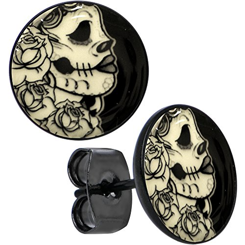 Women In The Gothic (Body Candy Black Anodized Stainless Steel Post Gothic Rose Skull Glow in the Dark Stud)