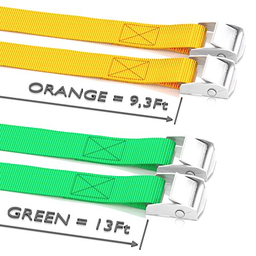 WowThings! Long Tie Down Car Straps - Lashing Cam Lock Metal Buckle Strap - Securing Adjustable Cargo Tie Downs For Roof Rack, Kayak, Canoe, Boat, Up To 600lbs, 4 Pack -