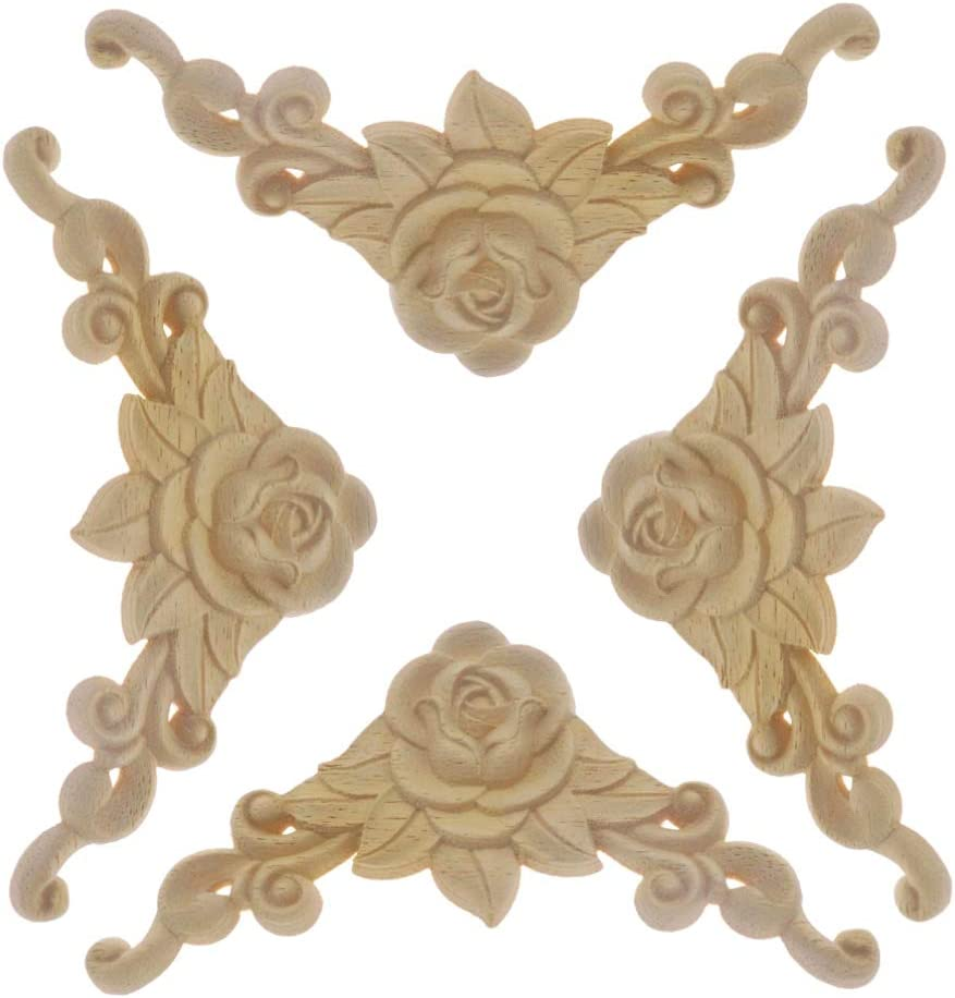 SUPVOX 4pcs Rustic Vintage Wood Carved Decal Rose Pattern Corner Onlay Applique Frame Furniture Cabinet Wall Unpainted for Craft Home Door Decoration