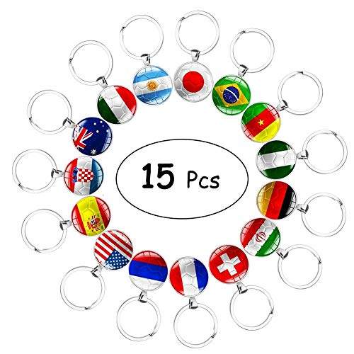 Set of 15 Pcs Metal National Flag Football Pattern Keychain Key Rings for Soccer Match 2018 FIFA World Cup Football Fans Gift
