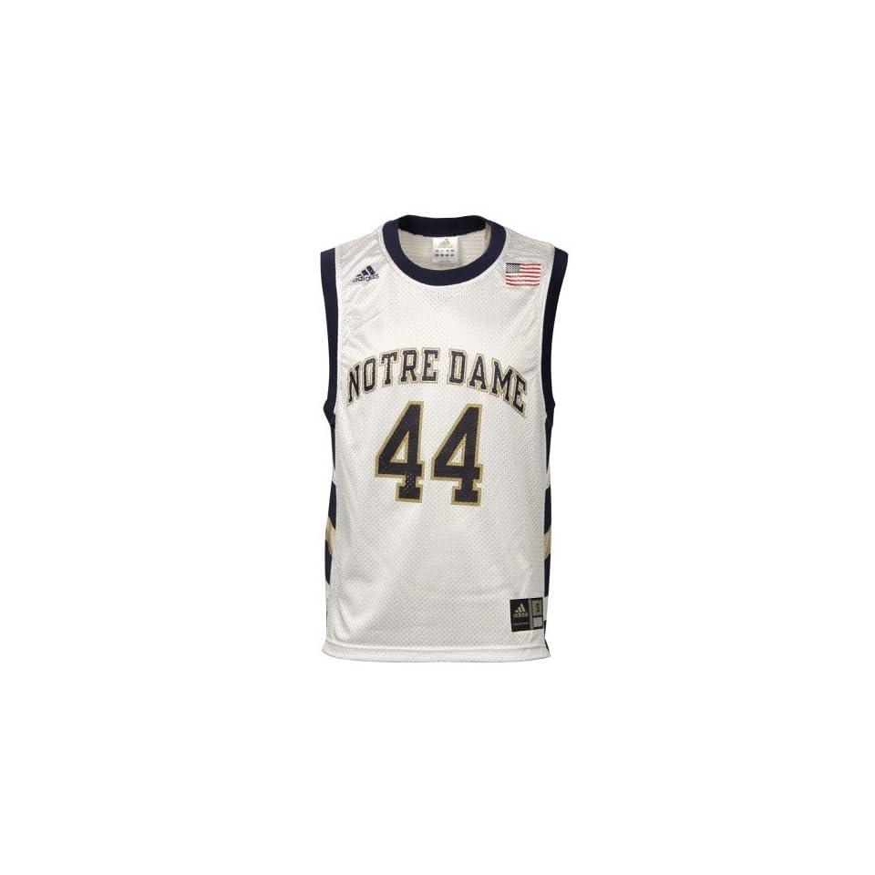 adidas Notre Dame Fighting Irish #44 White Replica Basketball Jersey