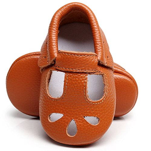 HONGTEYA Baby Girls Shoes Soft Sole T-Strap Leather Baby Moccasins Crib Infant Toddler Shoes (11cm/0-6months, Brown)