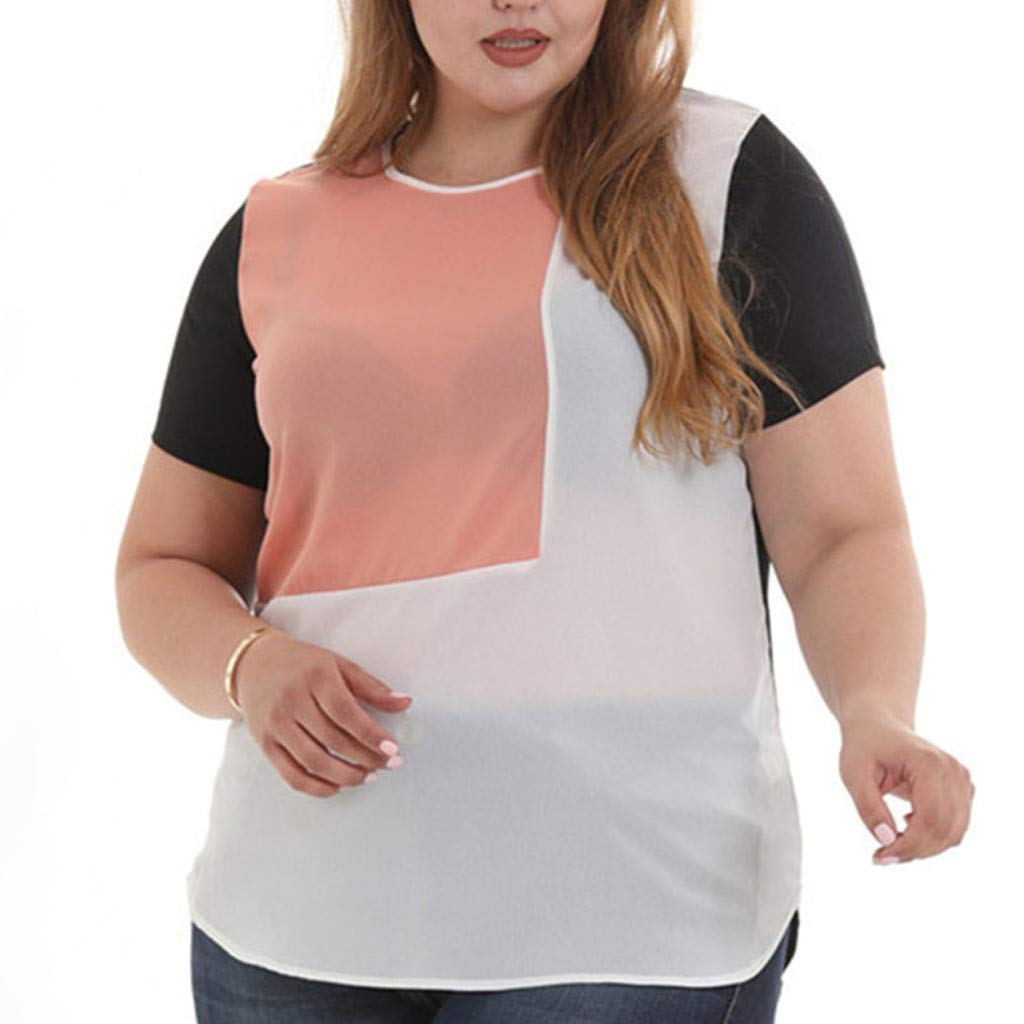 Women's Chiffon Color Block T-Shirt O-Neck Patchwork Short Sleeve Fashion Top Blouse Loose Breathable Comfy Tees S-5XL (XL)