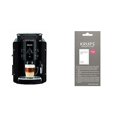 Krups EA8108 CAFETERAS, 1450 W, 1 Cups, Acero Inoxidable, Negro + F0540010 Kit descalcificación, Plastic