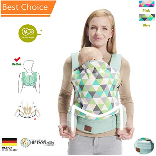 Kinderkraft Baby Carrier Cotton, Comfortable and Ergonomic, Multi-Position Carrying for Newborn to Toddler Blue