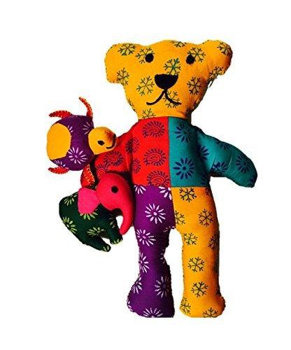 Organic Cotton Toy - Gift Set of 3 animals, The Rainbow Bear, The Elegant Elephant and Turtle - Miss Tattle - Elephant Cotton Tale
