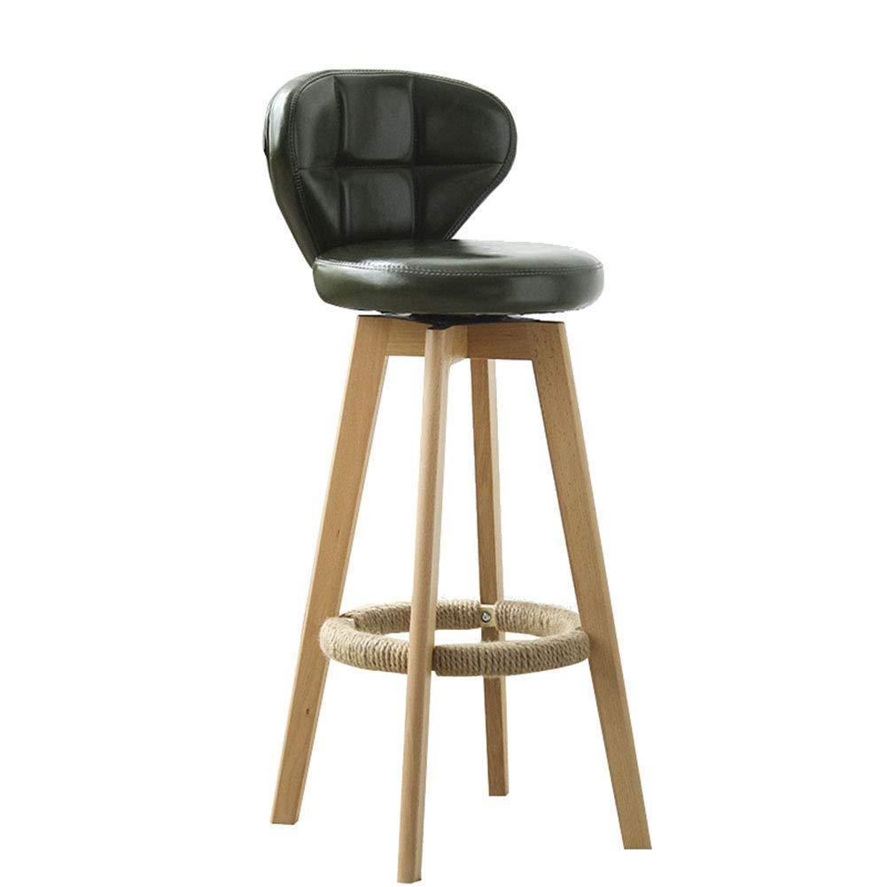 Green Walnut color Wooden Bar Stool Assembly Leisure Retro with Backrest redatable Thick Sponge JINRONG (color   Green, Size   Walnut color)
