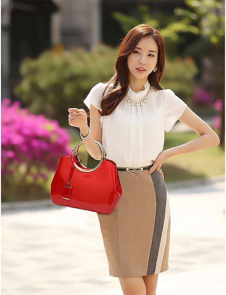 Borsa in pelle Borsa Stella con la stessa spalla Borsa da moto Moda brillante in pelle verniciata Borsa a tracolla versione coreana Red