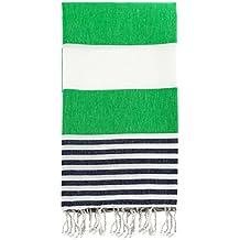 "Swan Comfort 100% Cotton Pestemal Turkish Bath Towel, 39"" x 70"" - Green - Navy Blue"