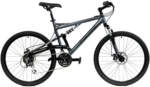 2018 Gravity FSX 1.0 Dual Full Suspension Mountain Bike with Disc Brakes, Shimano Shifting (Gray, 17in)