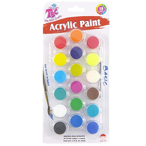 (TBC The Best Crafts 18 Basic Colors Acrylic Paint Pots Set with Brush, Strip Painting Set for)