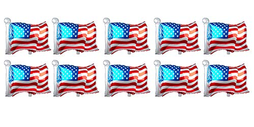 - SummitLink Pack of 10 American Flag Balloons PE Helium Foil Balloon Mylar (Rectangular Shaped 25'')