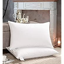 AIKOFUL Goose Down Bed Pillows for Sleeping 2 Pack, Goose Down Feather King Pillows, Firm White Goose Feather and Down Pillow,Cotton Cover with Fashionable Piping
