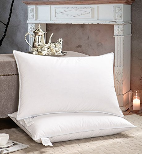 AIKOFUL Goose Down Bed Pillows for Sleeping 2 Pack, Goose Down Feather King Pillows, Firm White Goose Feather and Down Pillow,Cotton Cover with Fashionable Piping (Pillow Goose Down)