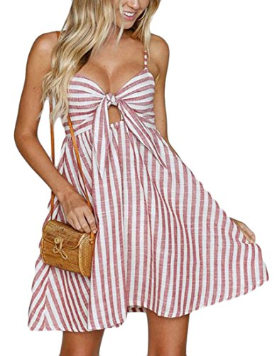 Sexy Svasato Scorsoio Di Vestito Banda Womens Rosa Nodo Della Domple Spiaggia Spaghetti Fascetta Mini PwWZ4vEq