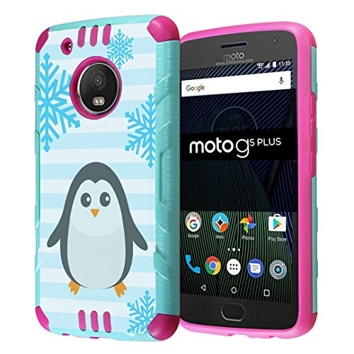 Moto G5 Plus Case, Capsule-Case Hybrid Dual Layer Slim Defender Armor Combat Case (Teal Mint Green & Pink) for Motorola Moto G5 Plus / Moto G Plus 5th Gen, XT1687 - (Penguin)