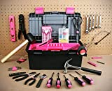Tool Kit. Best Portable Big Basic Starter Professional Household DIY Hand Mixed Repair Set W/Storage Toolbox For Home, Garage, Office For Men&Women. Includes Screwdriver, Wrench, Pliers, Etc. (Pink)