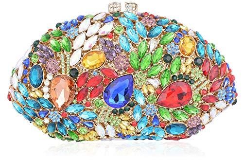 Women Mossmon Rhinestone Crystal Clutch Luxury Evening Bag 1OO0RnC
