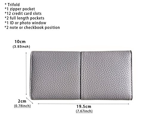 Rfid Blocking Leather wallet for women Girls,ladies long purse Large Capacity(Grey) by YOTOO (Image #7)