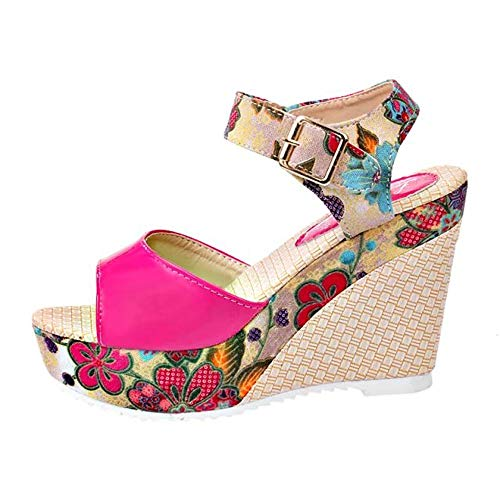 Nevera Women's Shoes Fish Mouth Espadrille Platform High Heels Wedges Sandals Hot Pink