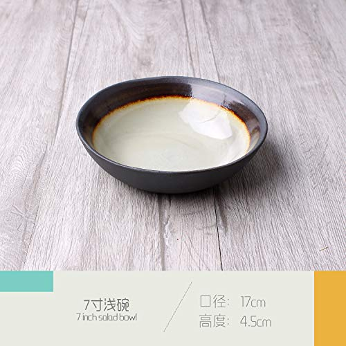 Retro Shaped Personality Ceramic Tableware Hotel Cafe Burdock Pan Noodle Bowl Salad Bowl Sauce Plate Large Flat Plate Shallow Bowl 17x4.5cm ()