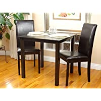 3 Pc Dining Room Dinette Kitchen Set Square Table and 2...