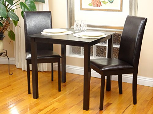 3 Pc Dining Room Dinette Kitchen Set Square Table and 2 Fallabella Chairs Espresso Finish (Dinette Sets Breakfast)