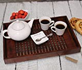 Handmade Wooden Tray Latice Style Base Sheesham Solid Brown Wood - Large