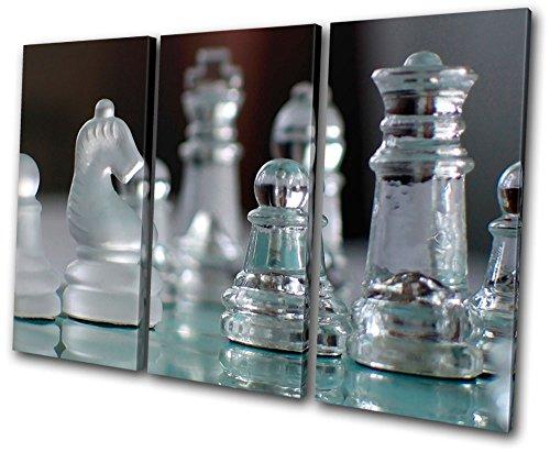 Bold Bloc Design – Hobbies Glass Chess Pieces – 150x100cm Caja de lámina de arte lienzo enmarcado foto del colgante de…
