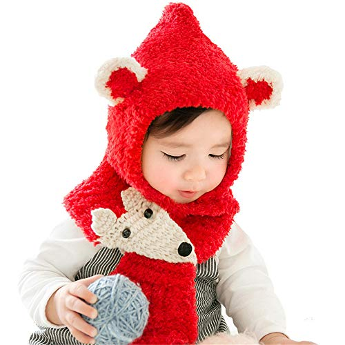 (Baby Girls Boys Winter Knitted Hat Scarf Set  Multifunction Warm Earflap Plush Soft Cute Fox Hood Scarfs Skull Caps (0-2 Years Old, D- Red))