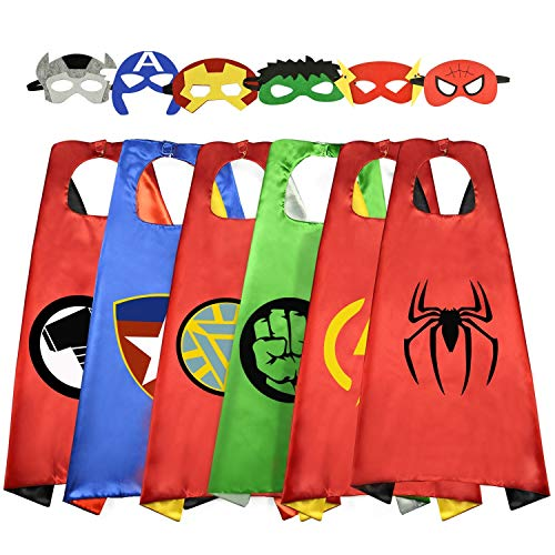 Roko 3-10 Year Old Boy Gifts, Superhero Costume for Boys Superhero Capes for Kids Boys Toys for 3-10 Year Old Boys Girls Cartoon Dress up Costumes Party Supplies Stocking Fillers 6 Pack RKUSPF06]()