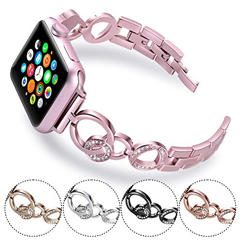 Stainless Steel Sand Bracelet Cuff (KARBYE Slim Women Band Compatible for Apple Watch Band 38mm 40mm Pink for Series 4/3/2/1, Glitter Iwatch Bands Compatible for Apple Watch Bracelet 38mm 40mm for Women (Rose Pink))